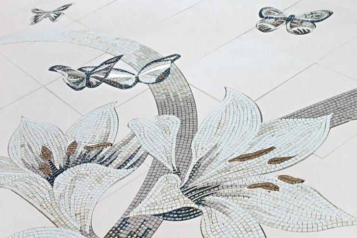 Wand- und Bodenbeläge aus Glasmosaik Blumen